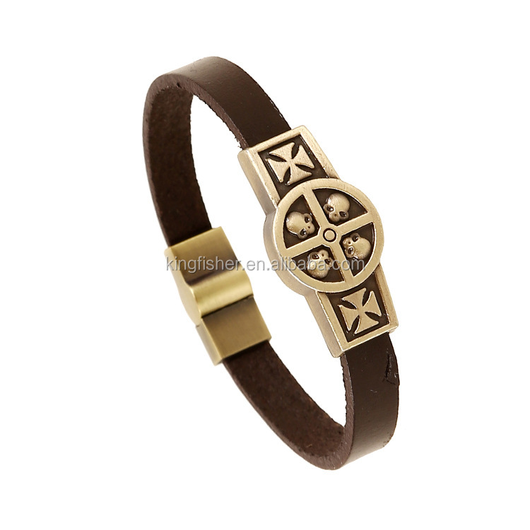 New design retro brass color carved skull cross decor metal clasp antique bangle wholesale