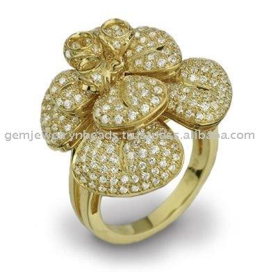 18k Yellow Gold Pave Design Diamond Ring Jewellery Handmade Indian Design Jewelry