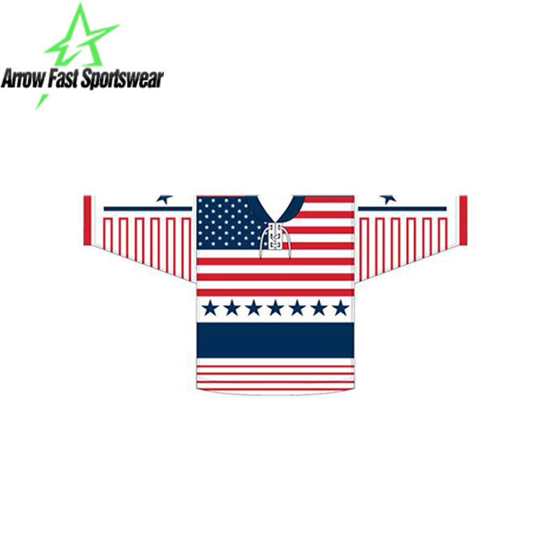 USA Flag Design Private Brand Custom Sublimation Ice Hockey Shirt Manufacturer New