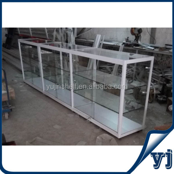 Multi-functional white square frame sliding door horizontal interlinked glass display cabinet with wheels