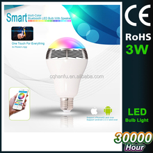 Speaker Android IOS APP remote control led bulb RGB Multi Colors smart wireless Bluetooth Led light bulb