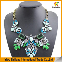 Sterling chain Colorful gemstone necklace with flower design