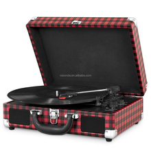 Factory hot sale OEM customized suitcase bluetooth usb mp3 player 33 45 78 rpm vintage vinyl record player
