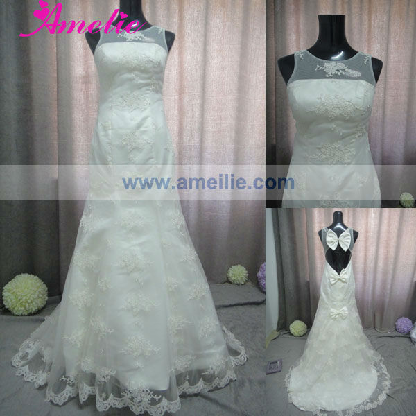 Open Low Back Lace Appliqued Wedding Dresses Real Sample