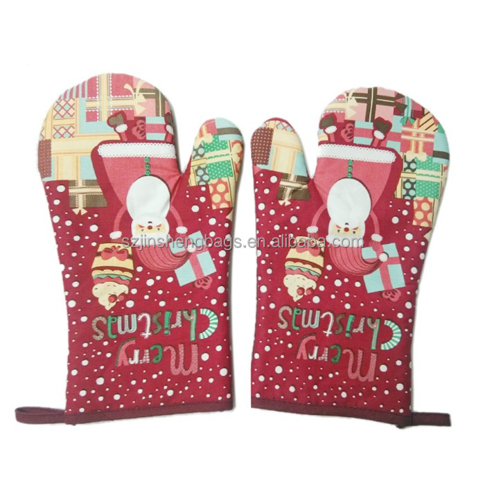 Novelty Christmas fireproof kitchen oven gloves