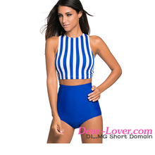 Blue & White Stripe Tankini Modest Swimwear Manufacturers in Bali