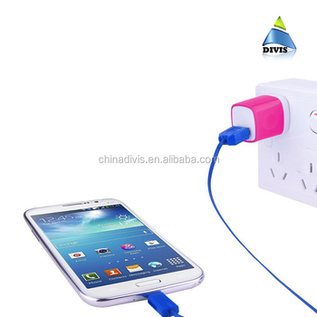 Wholesale mobile phone charger USB port wall charger with US plug multi color USB charger