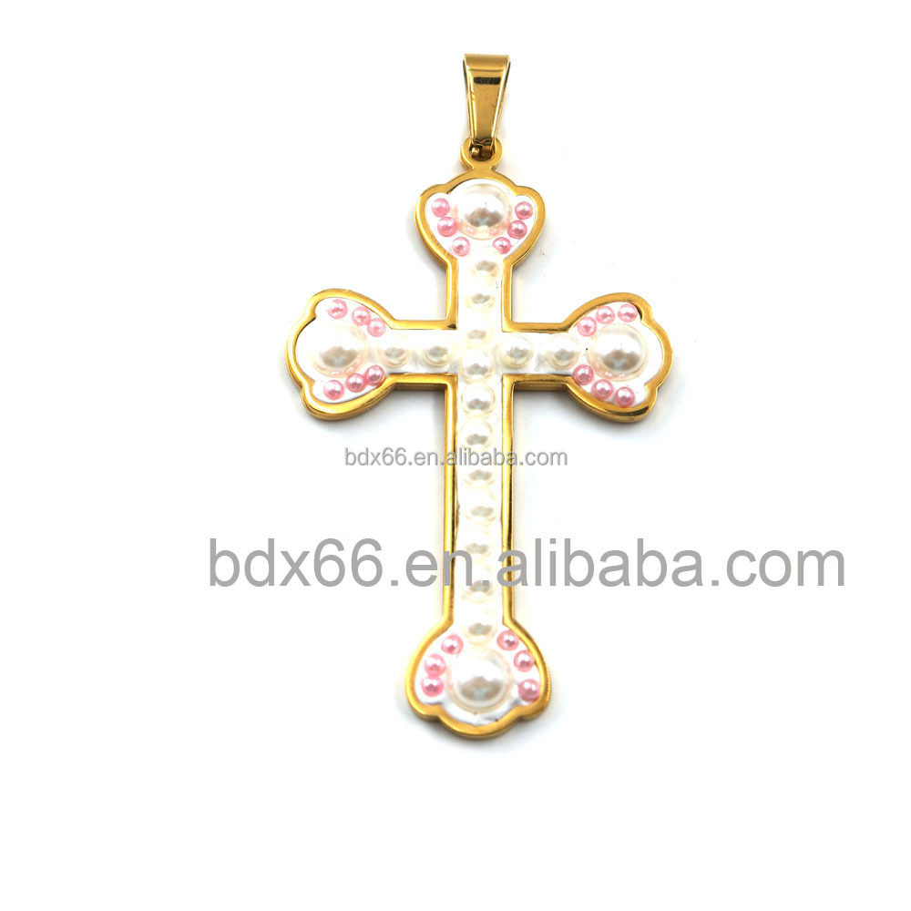 Cheapest High Quality Stainless Steel Religious Our Father Jesus Prayer Cross Pendants With White Plastic Beads For Muslim