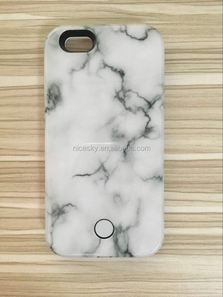 Fashion Marble Stone Soft Rubber Slim Back Selfie Led Phone Case Shell Cover For iphone 6 6s Plus 5 5s SE 5SE