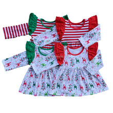 Christmas green ruffle long sleeve red white stripes Girls tops t shirts