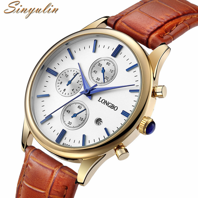 2016 Casual Men Watch Gold Plated Famous Brand Luxury Leather Strap Waterproof Quartz Wrist Watch Women for Lovers