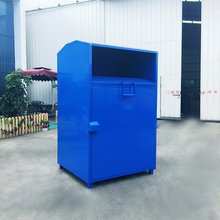 Customized standing metal clothing donation bin