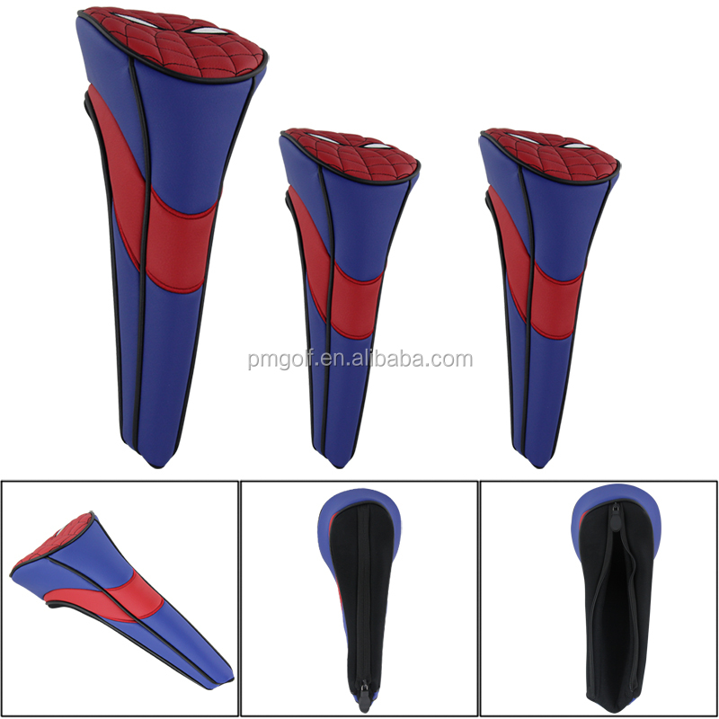 3 in 1 Nylon Golf Headcover For Driver Fairway Hybrid Club SpiderMan 2015 Polyer