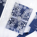 Hot Sale Unique Silver Glitter Laer Cut Snow Pattern Christmas Wedding Invitation Card