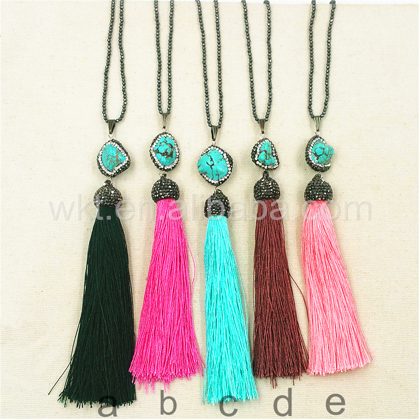 WT-NV102 Gorgeous turquoise charm tassel necklace, elegant rhinestone pave turquoise tassel necklace