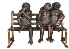 Life size bench decorative statues bronze sculpture 3 monkeys