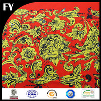 Digital printed custom polyester dupioni fabric own design