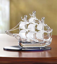 Etched 3d blown glass ship moder for gift