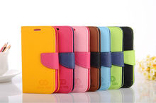 Fancy Dual Color High Quality PU Leather Wallet Case With Magnetic flap closure For Samsung Galaxy S4 IV S 4 i9500
