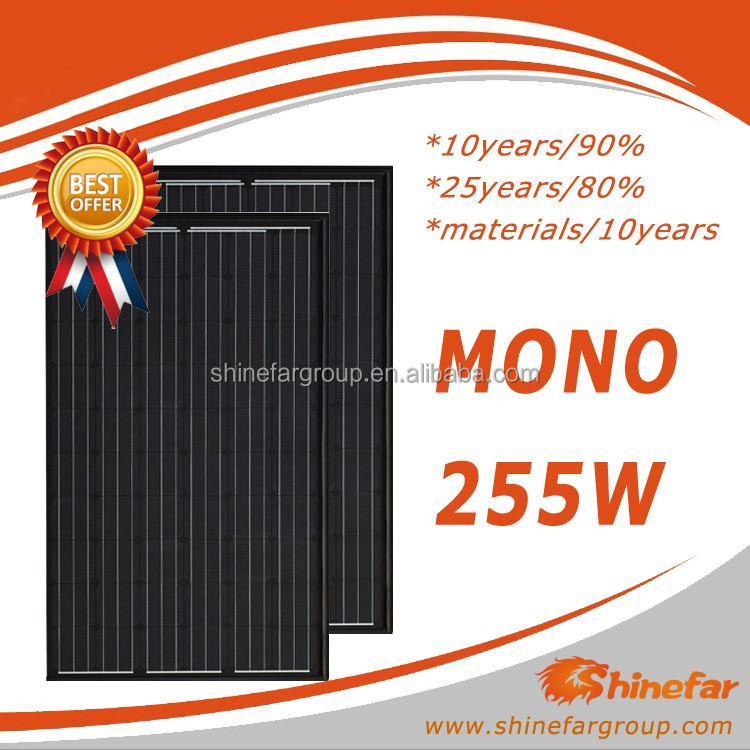 Best price per watt for mono full black 255W PV solar panel with very cheap price