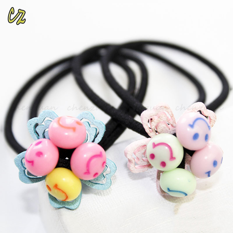 Fashion design little baby girls small elastic hair rubber bands with flowers