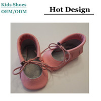 China Shoes Factory Name Brand Baby Moccasins Shoes Pink Cow Leather Handmake Lovely Kids Shoes