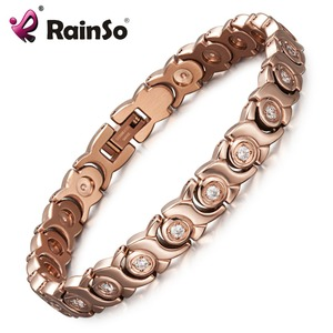 Hot Sale Health Energy Jewelry Stainless Steel Magnet Bracelet with CZ Stones Gifts for Women
