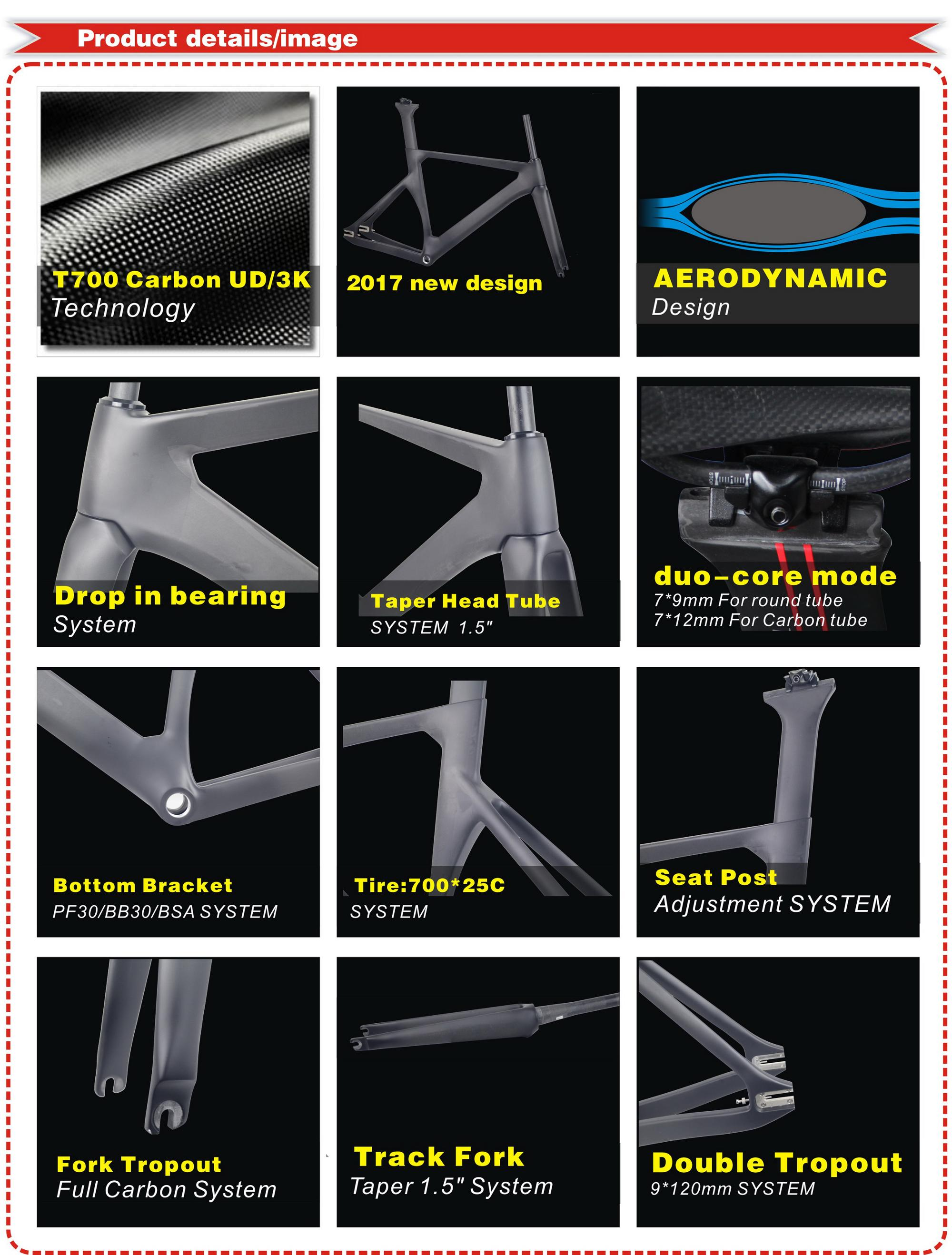 High Quality Fixed Gear Carbon Fiber Road Bike Frame With BSA, Carbon Track Frame