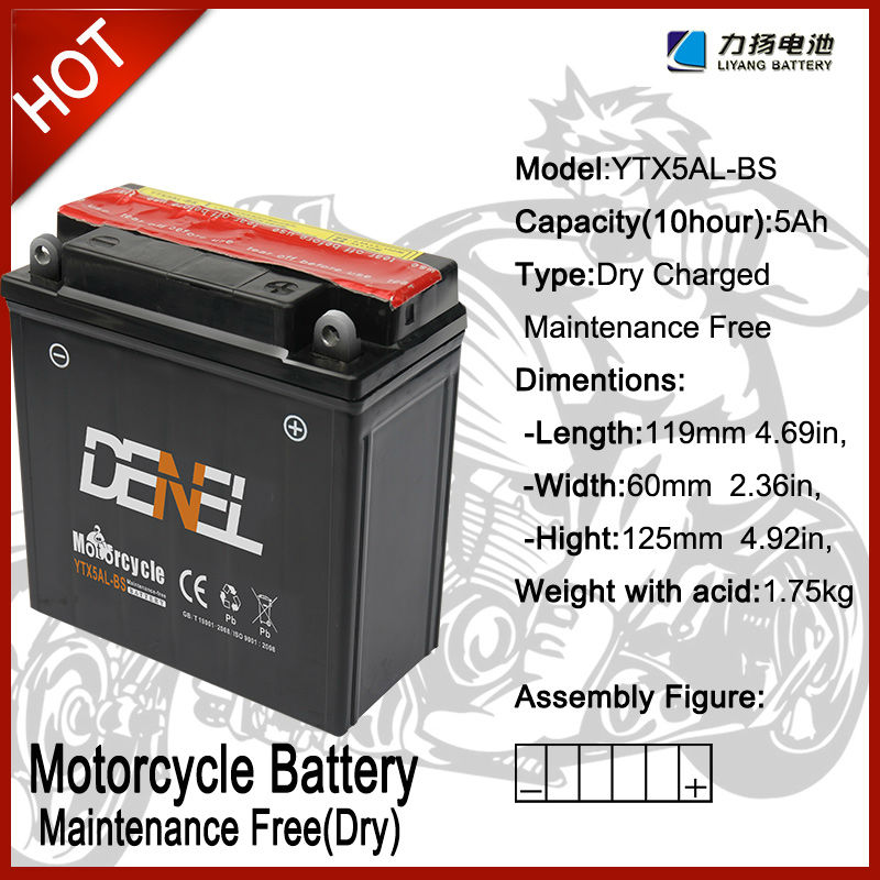 STARTING BATTERY FOR MOTO ZONGSHEN LIFAN LONCIN JIANSHE Batteries/Storage Batteries YTX5AL-BS