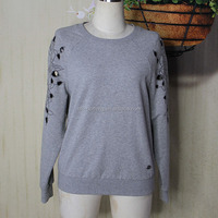 Nice style embroidered long sleeve t shirt for women