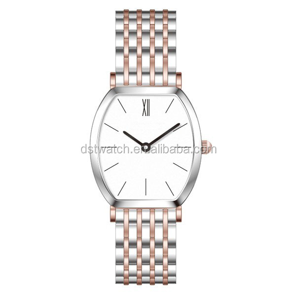 Top brand luxury style watch gold and silver rose gold women barrel shape wrist watch