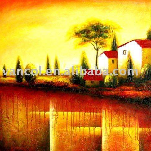 Wooden stretched cheap oil painting on canvas landscape