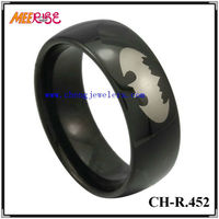 Comfort Fit High Quality Dome Black Plating Tungsten Ring, Tungsten+Jewelry
