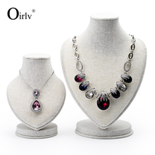 Oirlv wholesale Chinese factory linen jewelry display neck stands necklace pendant display mannequin model jewelry display