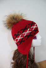 Knitting Pattern Raccoon Fur Hat Personalized Lady Hats With Ear Muffs Jacquard Fabric