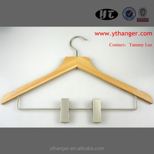 WH65 15.75'' thin Natural Flat Top Wood Hanger for Shirts and Clothes
