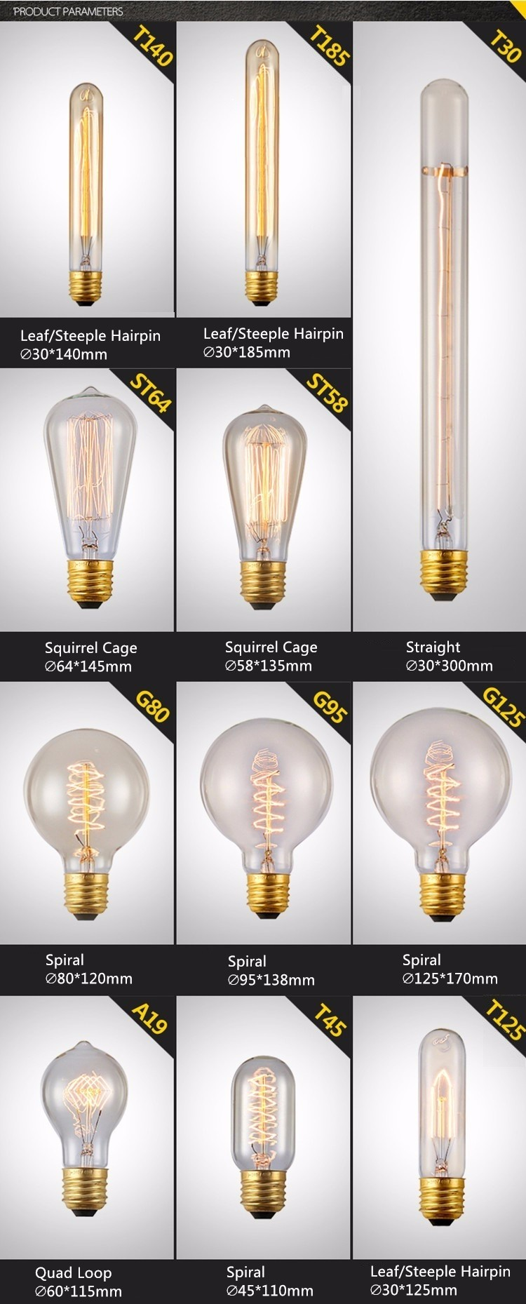 Best price wholesale 60w Lantern shape vintage incandescent edison light bulb L80 with top quality