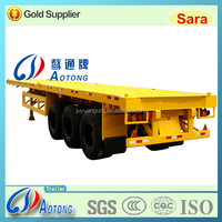 Competitive widely used 3 Axles 40ft Flatbed Container transport Semi Truck Trailer for sale