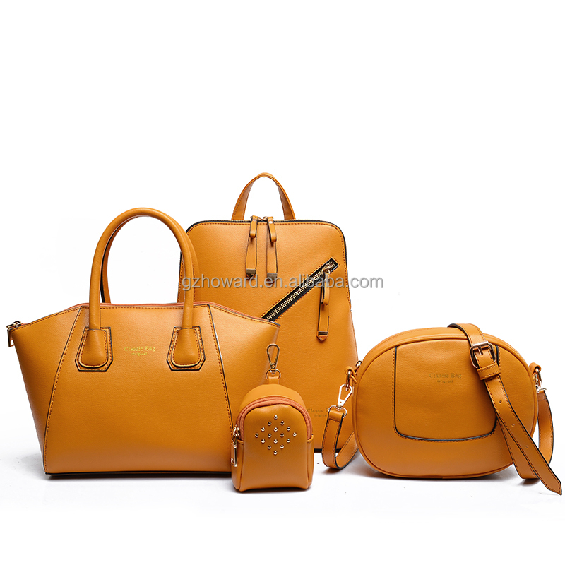 High quality 4pcs a set PU leather lady handbags backpack & <strong>tote</strong> & message bag