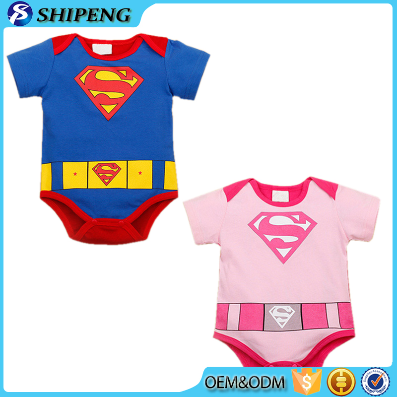 2015 hot sale baby clothes wholesale baby boys and girls short sleeve cotton superman baby romper