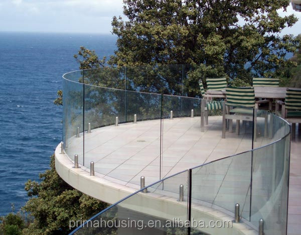 Deck Railing Fence System, Curved Glass Railing