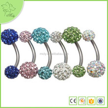 Wholesale factory durable stainless steel crystal gem ball navel belly button rings