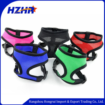 Colorful polyester adjustable dog harness vest pet dog collar harnesses mesh dog collar and leash