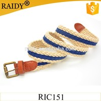 cheap wholesale make New design western white and blue and colorful cotton cord woman braided rope belt