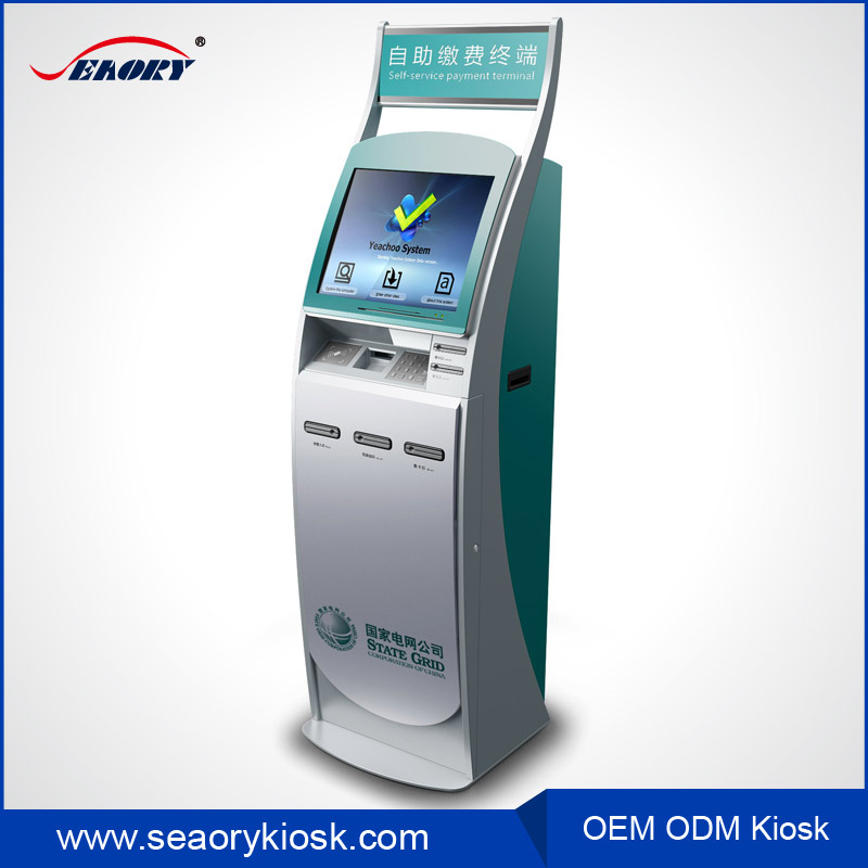 free standing self service bill payment kiosk/mobile phone charging kiosk station/IR touch screen kiosk