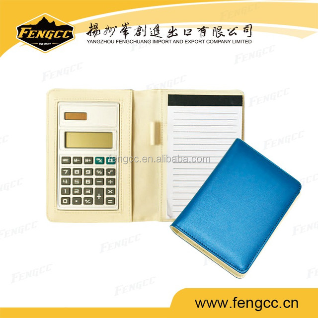 Popular PU leather 5 Leather zipper binder calculator