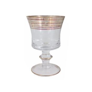 Golden rimmed wine glass with short stem