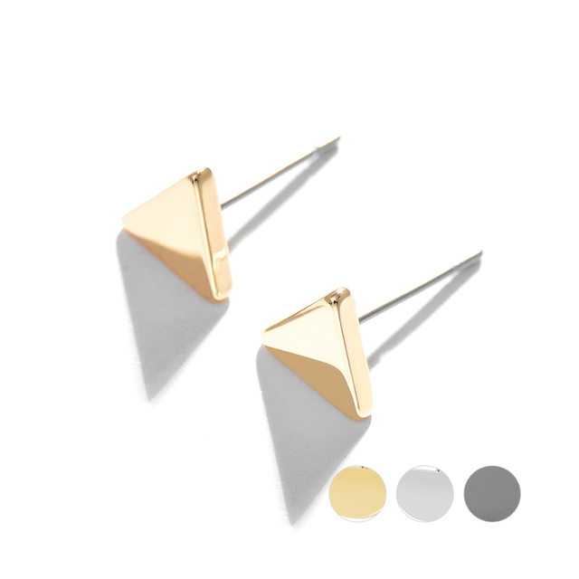 Fashion Sexy Korean Simple Gold Color Triangle Earrings Small Stud Earrings Jewelry For Young Girls Gifts Jewelry