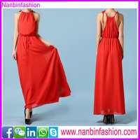 Hot sale summer lardy red halter sleeveless sexy long dress