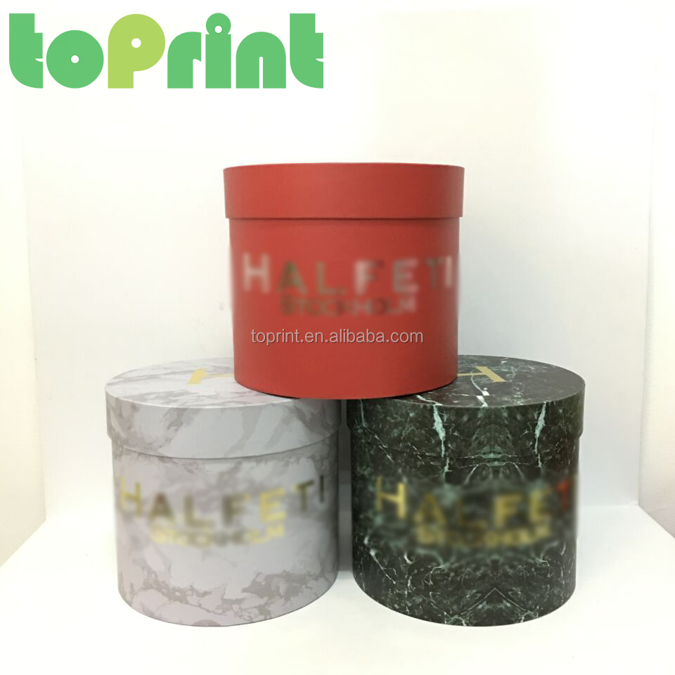 2017 hot sale marble color round flower packaging paperboard boxes